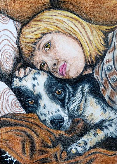 Art: Friends - CP18  (SOLD) by Artist Monique Morin Matson