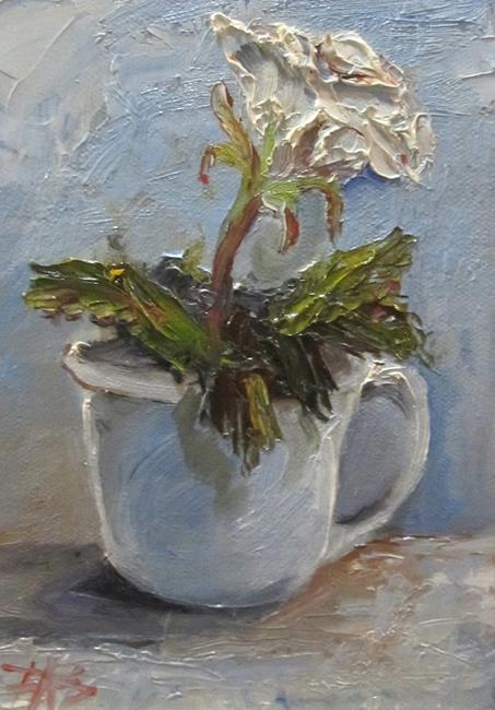 Art: Cup and White Rose by Artist Delilah Smith