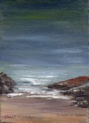 Art: Seascape No 6 ACEO by Artist Janet M Graham