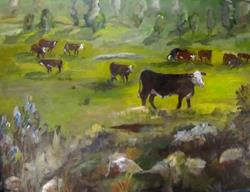 Art: Wyomong Cattle by Artist Delilah Smith