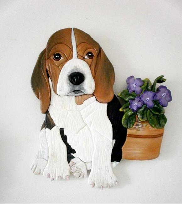 Art: Beagle Ben. Original pInted intarsia by Artist Gina Stern