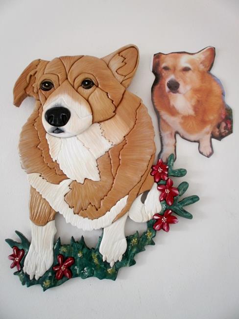 Art: Corgi Dog Painted Original Intarsia Art by Artist Gina Stern