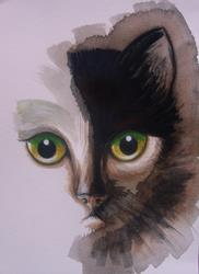 Art: CAT FACE MIXED MEDIA PAINTING 9 X 12 by Artist Cyra R. Cancel