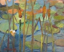 Art: Cattails and Lily Pads by Artist Delilah Smith