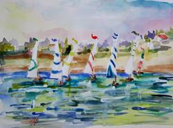 Art: Sails on the LAke by Artist Delilah Smith