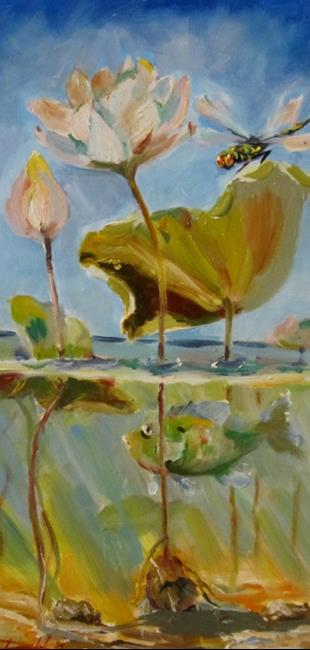 Art: Dragonfly and Waterlily by Artist Delilah Smith