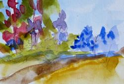 Art: Flowering Trees Aceo by Artist Delilah Smith