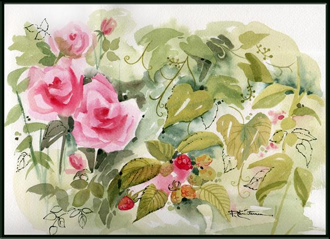 Art: EBSQ Garden Plein Air - Roses, Raspberries & Grapes by Artist Patricia  Lee Christensen