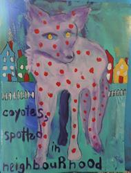 Art: coyotes, spotted in neighbourhood by Artist Nancy Denommee