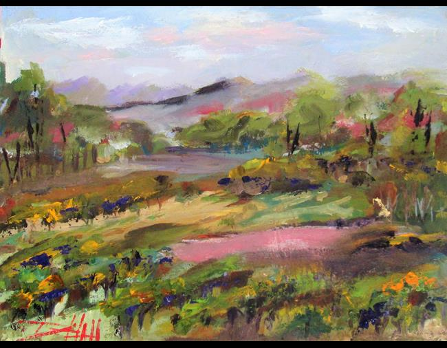 Art: Pionot Noir Vineyard by Artist Delilah Smith