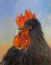 Art: Black Rooster-SOLD by Artist Delilah Smith