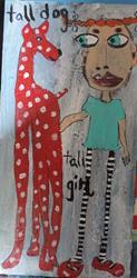 Art: tall dog tall girl by Artist Nancy Denommee