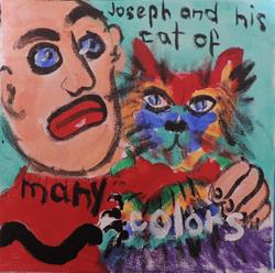 Art: joseph and his cat of many colors by Artist Nancy Denommee