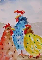 Art: Polka Dot Chickens by Artist Delilah Smith