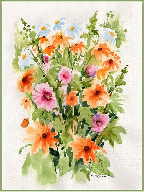 Art: Garden Plein Air EBSQ - Holly Hocks, Black-eyed Susans & Daisies by Artist Patricia  Lee Christensen
