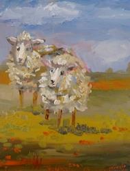 Art: Two Woolly Sheep by Artist Delilah Smith