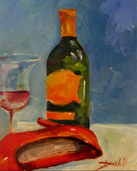 Art: Red High Heels and Wine by Artist Delilah Smith