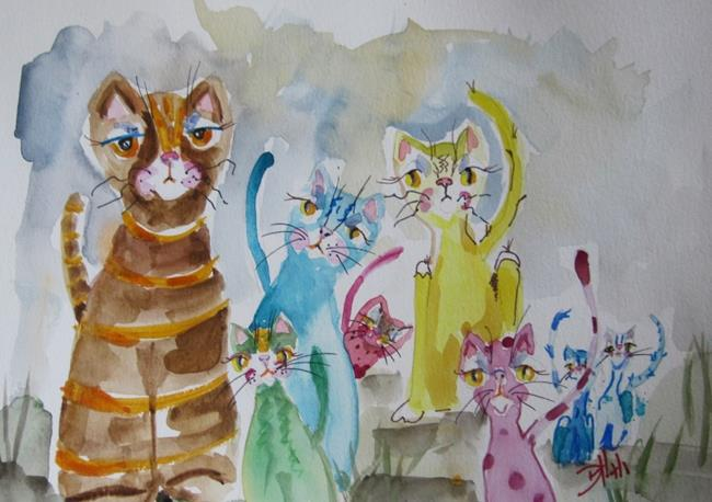Art: Mama Cat and Kittens by Artist Delilah Smith