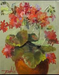 Art: Geranium in a Clay Pot by Artist Delilah Smith