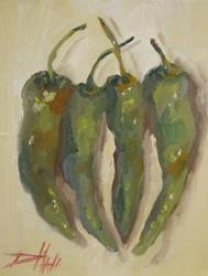 Art: Four Hot Peppers by Artist Delilah Smith