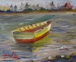 Art: Row Boat on Lily Pond by Artist Delilah Smith