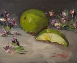 Art: Limes and Flowers by Artist Delilah Smith