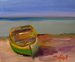 Art: Row Boat on Beach-sold by Artist Delilah Smith