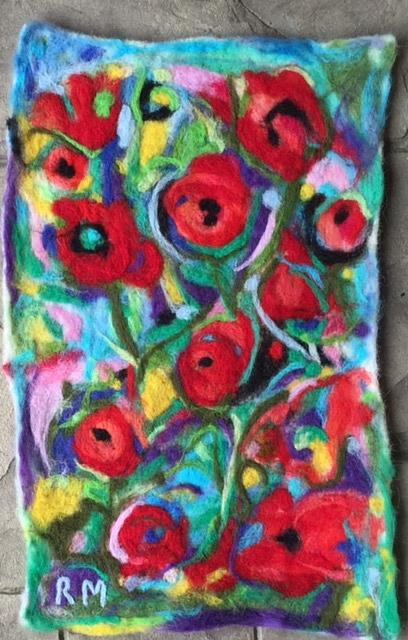 Art: Abstract Flowers Needle Felted Wool Painting by Artist Ulrike 'Ricky' Martin