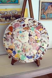 Art: vintage pottery plate by Artist Naquaiya
