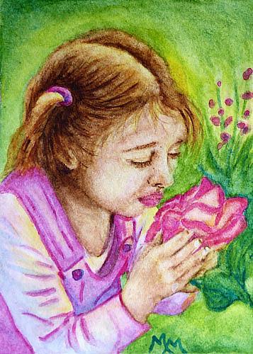 Art: Smelling the Roses  (SOLD) by Artist Monique Morin Matson