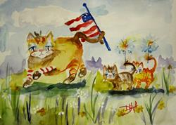 Art: Fourth of July Cat Parade by Artist Delilah Smith