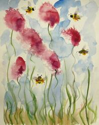 Art: Pink Flowers and Bees by Artist Delilah Smith