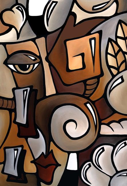 Art: Cubist 141 2436 GW Original Cubist Art OCD by Artist Thomas C. Fedro