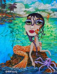 Art: 1620 18x14 Mermaid Rock by Artist Ke Robinson