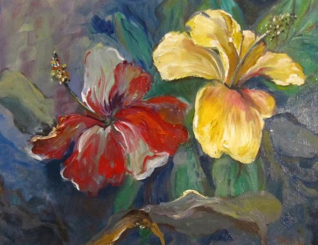 Art: Hibiscus on Blue-sold by Artist Delilah Smith