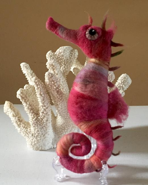 Art: Needle Felted Seahorse by Artist Ulrike 'Ricky' Martin
