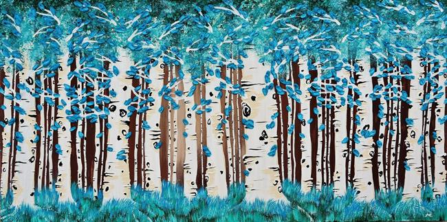 Art: Turquoise Forest (sold) by Artist Amber Elizabeth Lamoreaux