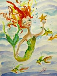 Art: Swimming with the Fish-sold by Artist Delilah Smith