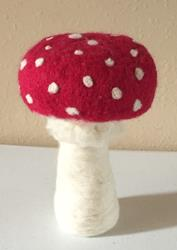 Art: Needle Felted Amanita Mushroom by Artist Ulrike 'Ricky' Martin