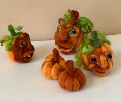 Art: Needle Felted Pumpkins by Artist Ulrike 'Ricky' Martin
