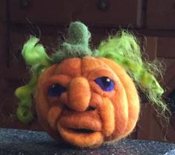 Art: Needle Felted Pumpkin Head by Artist Ulrike 'Ricky' Martin