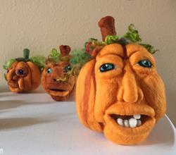 Art: Needle Felted Pumpkin by Artist Ulrike 'Ricky' Martin