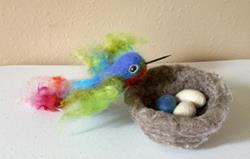 Art: Needle Felted Hummingbird by Artist Ulrike 'Ricky' Martin