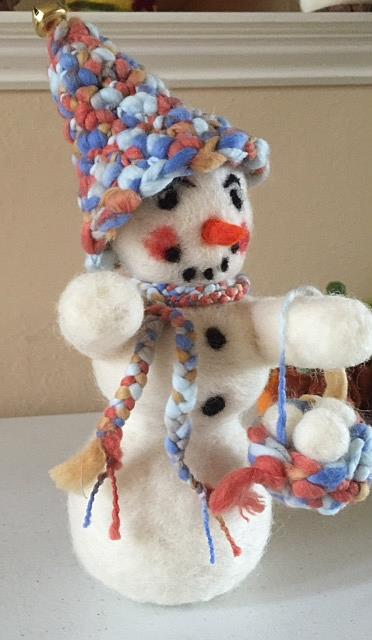 Art: Needle Felted Snowman by Artist Ulrike 'Ricky' Martin