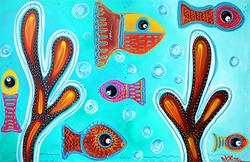 Art: Quilted Fish by Artist Laura Barbosa