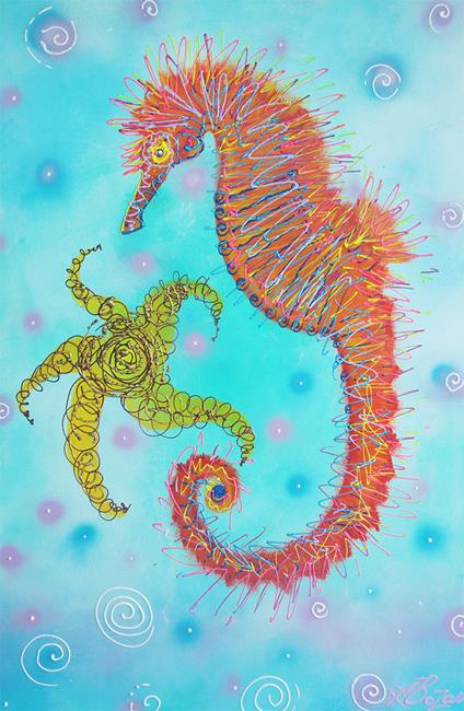 Art: Sassy Seahorse by Artist Laura Barbosa
