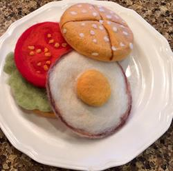 Art: Needle Felted Fried Egg Sandwich by Artist Ulrike 'Ricky' Martin