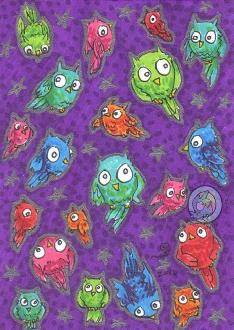 Art: Fruit Owls by Artist Emily J White