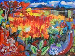 Art: Imaginary landscape by Artist Muriel Areno