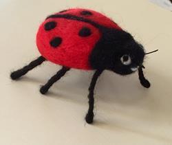 Art: Needle Felted Ladybug by Artist Ulrike 'Ricky' Martin
